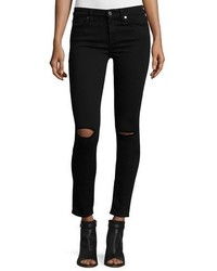 7 For All Mankind The Ankle Skinny Ripped Jeans Bair Black