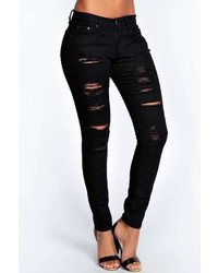 Boohoo Abby High Rise Heavy Ripped Skinny Jeans