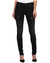 Mavi Jeans Adriana Midrise Super Skinny In Ripped Black Coated