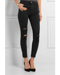 J Brand Alana Cropped Distressed High Rise Skinny Jeans Black