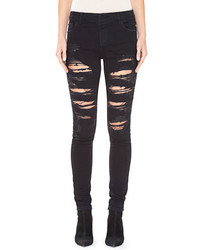 Alice + Olivia Jane Embellished Distressed Skinny Jeans Black