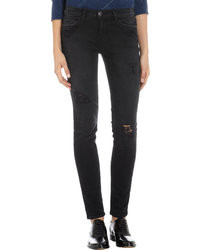 Current/Elliott Ankle Skinny Overdye Black Destroy Od Black Destroy