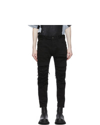 Julius Black Denim Distressed Stretch Jeans
