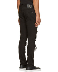 Versace Black Distressed Slim Fit Jeans | Where to buy & how to wear