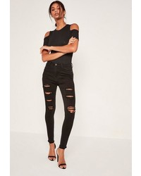 Missguided Black High Waisted Extreme Ripped Skinny Jeans
