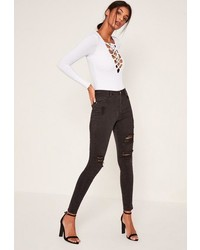 Missguided Black Highwaisted Authentic Ripped Skinny Jeans