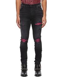 Amiri Black Pink Cracked Leather Mx1 Jeans