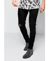 Boohoo Black Ripped Knee Jeans In Spray On Skinny Fit
