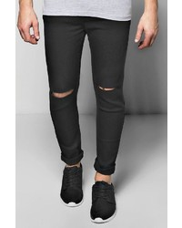 Boohoo Black Ripped Knee Spray On Skinny Jeans