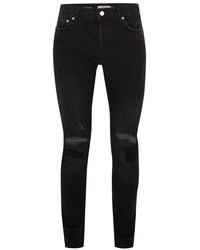 Topman Black Ripped Stretch Skinny Jeans