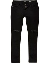 River Island Black Ripped Super Skinny Danny Jeans