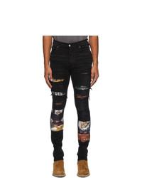 Amiri Black Scarves Art Patch Jeans