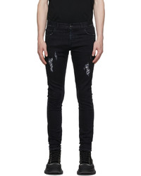 Marcelo Burlon County of Milan Black Slim Distressed Cross Jeans