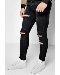 Boohoo Black Super Skinny Ripped Biker Jeans