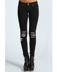 Boohoo Laura Distressed Ripped Knee Skinny Jeans