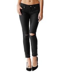 Black coated jeans damen