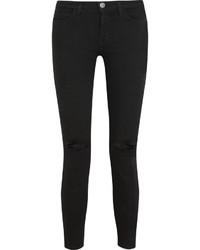 Current/Elliott The Stiletto Mid Rise Distressed Skinny Jeans Black