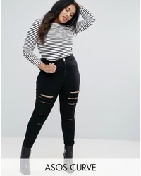 Asos Curve Curve Ridley Skinny Jean In Black With Shredded Rips
