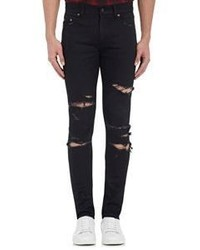 Saint Laurent Destroyed Skinny Jeans Black