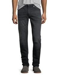 Saint Laurent Dirty Wash Skinny Jeans With Ripped Knee
