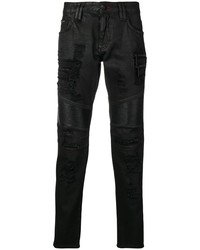 Philipp Plein Distressed Biker Jeans