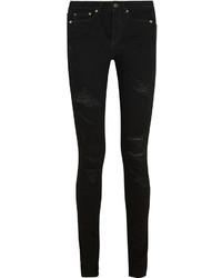 Saint Laurent Distressed Mid Rise Skinny Jeans