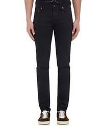 Saint Laurent Distressed Skinny Jeans Black