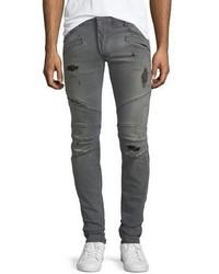 Pierre Balmain Distressed Skinny Moto Jeans Faded Black