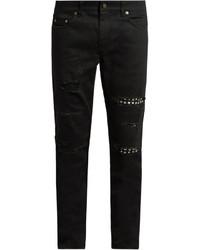 Saint Laurent Distressed Stud Trimmed Skinny Jeans