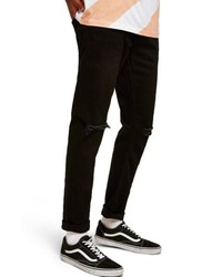 Topman Double Ripped Skinny Fit Jeans