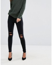 Dr. Denim Dr Denim Lexy Mid Rise Second Skin Super Skinny Ripped Knee Jeans