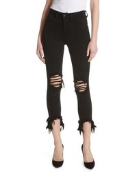 L'Agence Highline High Waist Fray Hem Skinny Jeans