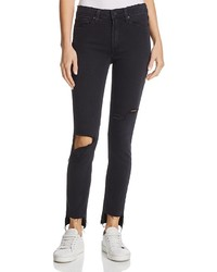 Paige Hoxton Step Hem Skinny Ankle Jeans In Black Sky Destructed 100%