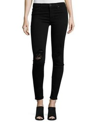 Hudson Nico Distressed Mid Rise Skinny Jeans Ravage