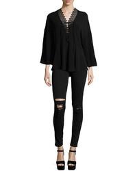 IRO Irma Distressed Skinny Denim Jeans Black