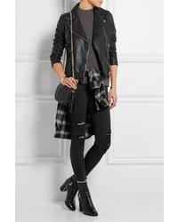 J Brand Alana Cropped Distressed High Rise Skinny Jeans Black