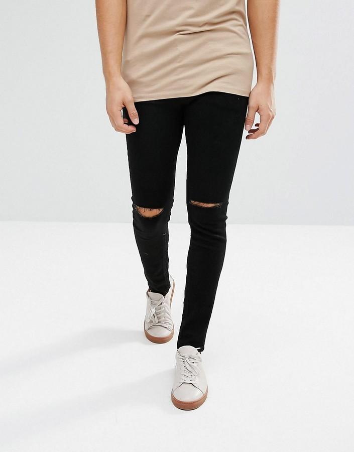 612a1c132b61 ... Black Ripped Skinny Jeans Jack and Jones Jack Jones Intelligence Skinny  Fit Jean With Rip Knee ...