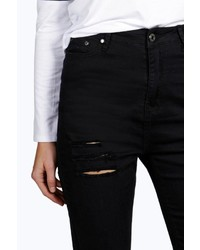 Boohoo Jane 5 Pkt High Rise Ripped Skinny Jeans
