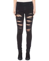 Alice + Olivia Jane Ripped Embellished Pocket Skinny Jeans