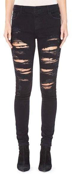 Alice + Olivia Jane Ripped Embellished Pocket Skinny Jeans