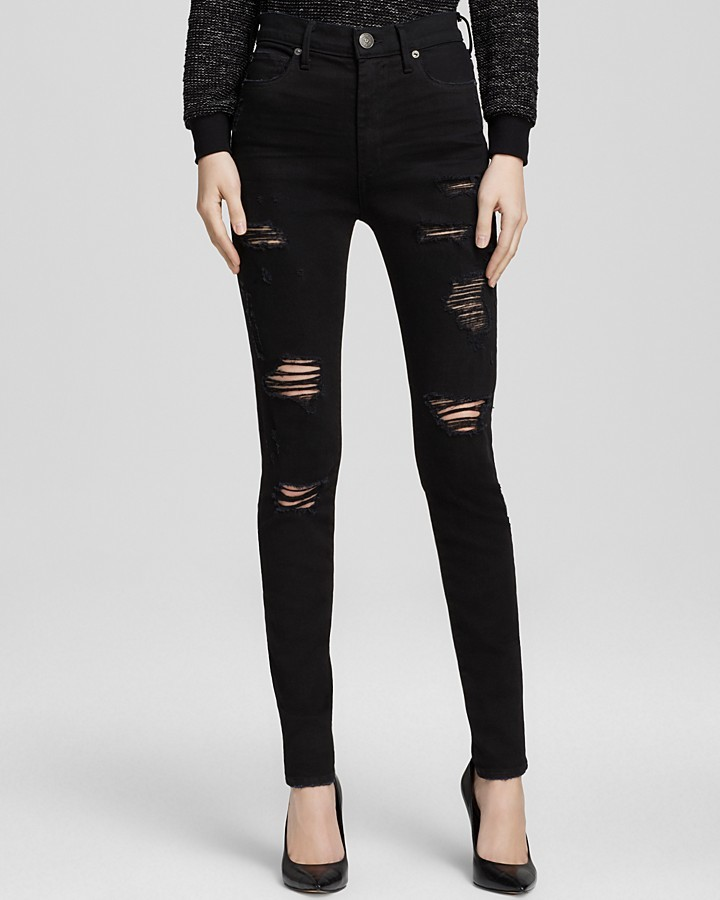 True Religion Jeans Halle High Rise Skinny Destruction In Black ...
