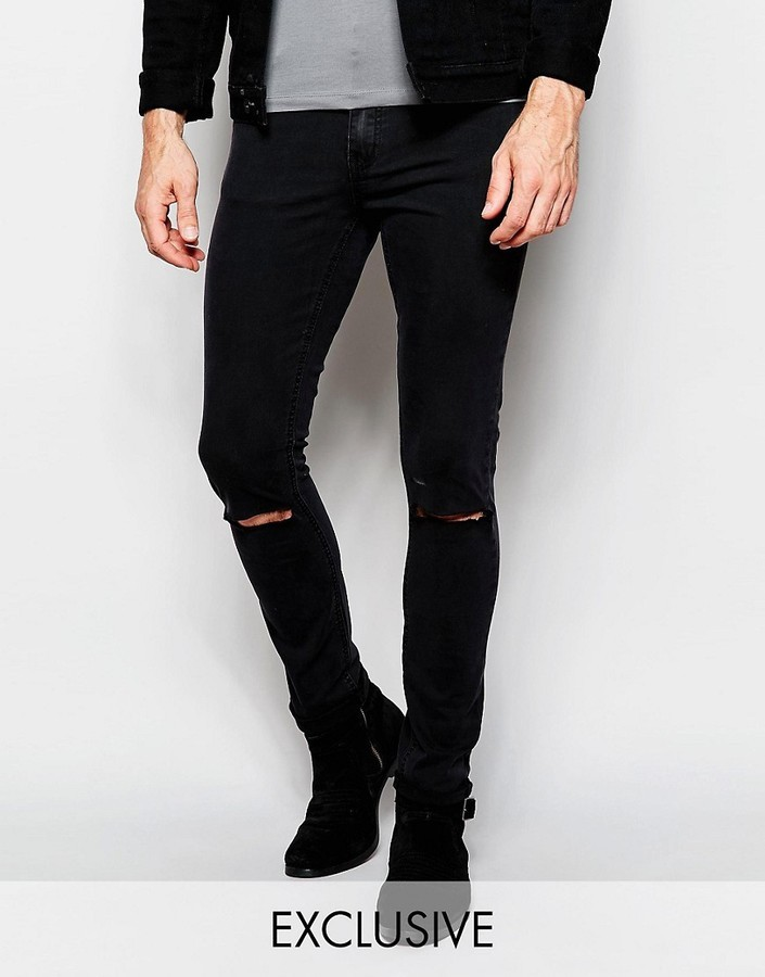 Cheap Monday Jeans Tight Skinny Fit Very Black Ripped Knee 90 Asos Lookastic