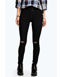 Boohoo Lara Ripped Knee Skinny Tube Jeans