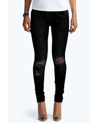 Boohoo Laura Ripped Knee Black Skinny Jeans