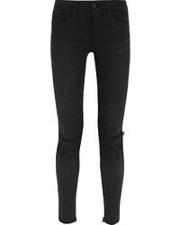 Frame Le Skinny De Jeanne Distressed Mid Rise Jeans Black