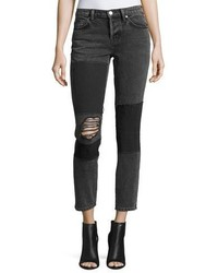 IRO Lep Mid Rise Patched Distressed Skinny Jeans