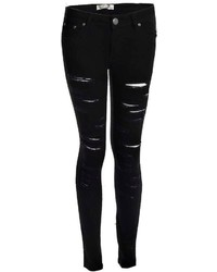 Boohoo Lisa Low Rise All Over Rip Skinny Jeans