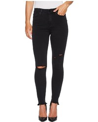 Paige Margot Ankle With Uneven Undone Hem In Black Sky Destructed Jeans