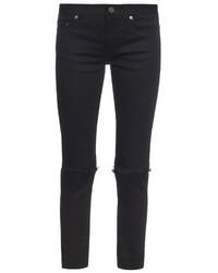 Saint Laurent Mid Rise Distressed Skinny Jeans
