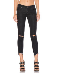 Free People Mid Rise Skinny Destroyed Ankle Jean